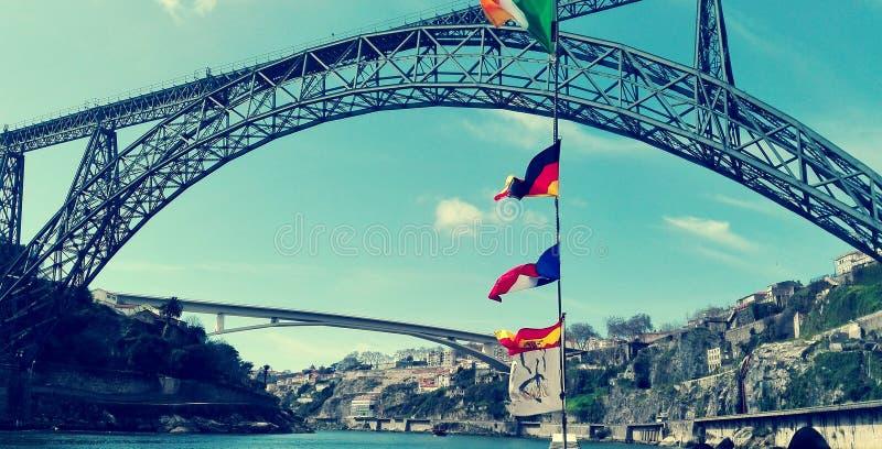 De brugmening en landschap van Porto stock fotografie