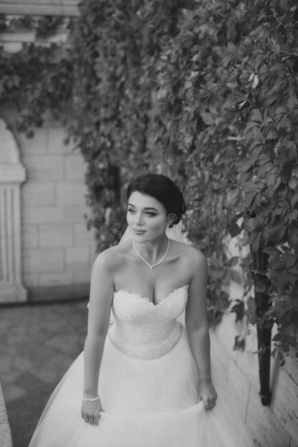 De bruid beklimt de treden royalty-vrije stock afbeelding