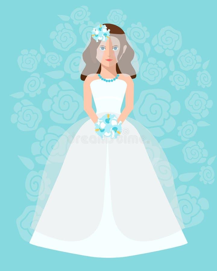 De bruid in een lange huwelijkskleding met een boeket van bloemen stock illustratie