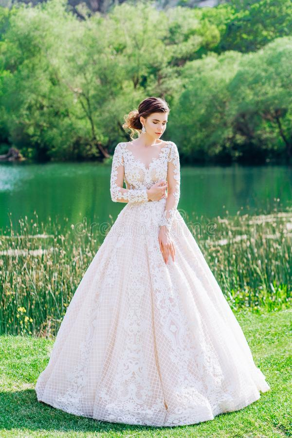 De bruid in een prachtige, witte, huwelijkskleding met een lange trein royalty-vrije stock fotografie