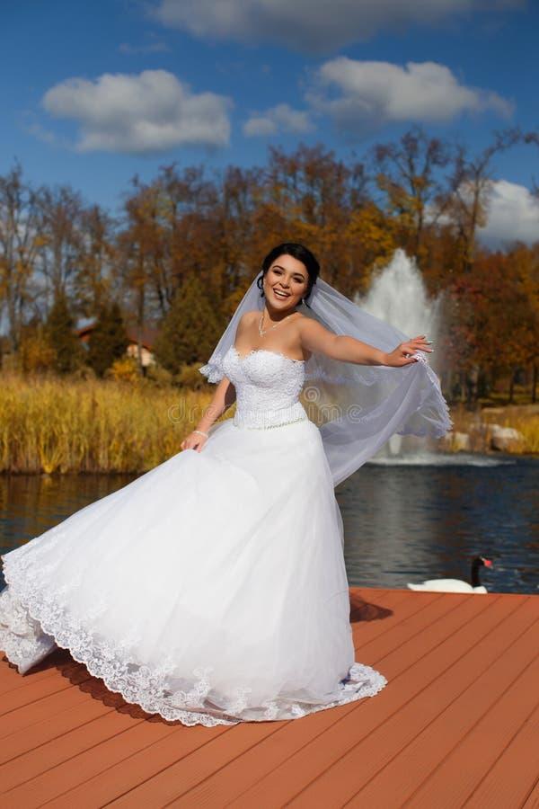 De bruid in een rijke huwelijkskleding bevindt zich op de pijler royalty-vrije stock foto