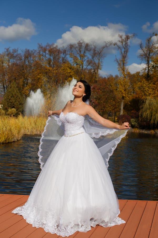 De bruid in een rijke huwelijkskleding bevindt zich op de pijler stock fotografie