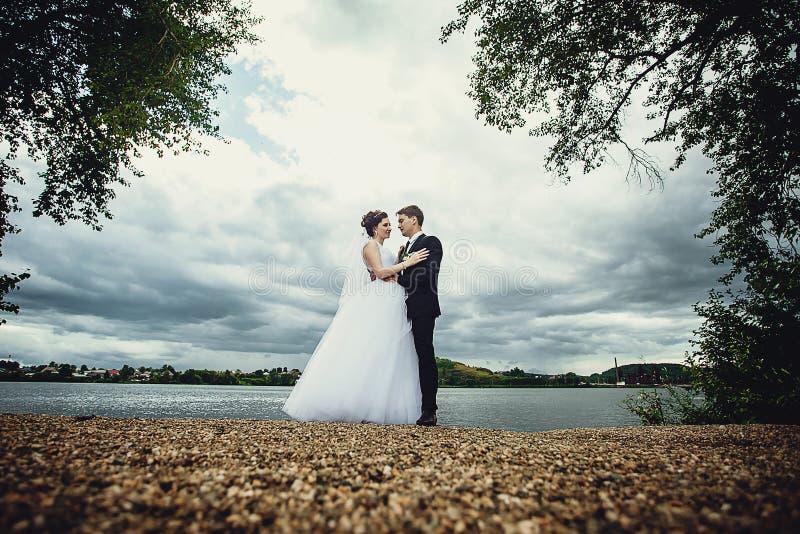 De bruid en de bruidegom bevinden zich op de kust van de vijver en bekijken elkaar Mooi portret van gemiddelde lengte stock foto's