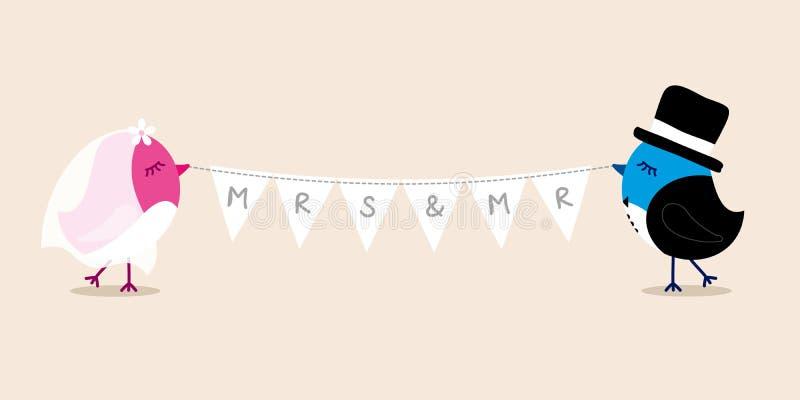 De Bruid en Bruidegom Holding Bunting van huwelijksvogels MEVR. MR stock illustratie