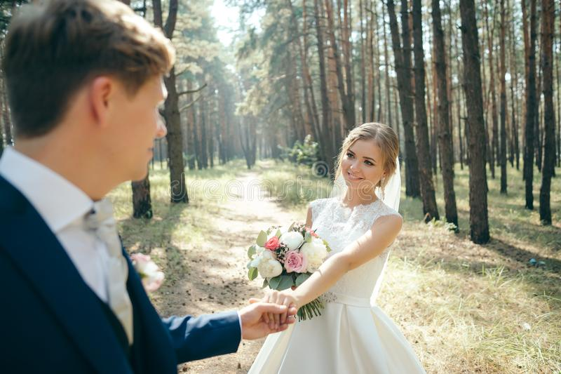 De bruid en de bruidegom in huwelijk kleden zich op natuurlijke achtergrond De dag van het huwelijk De jonggehuwden lopen door he stock foto's