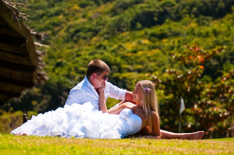 De bruid en de bruidegom liggen op het gras stock fotografie