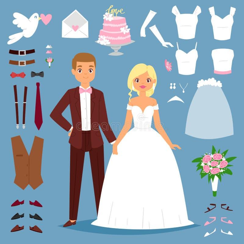 De bruid en de bruidegom van het beeldverhaalhuwelijk koppelen vectorillustratie van jong die paar op achtergrond en huwelijkspic vector illustratie