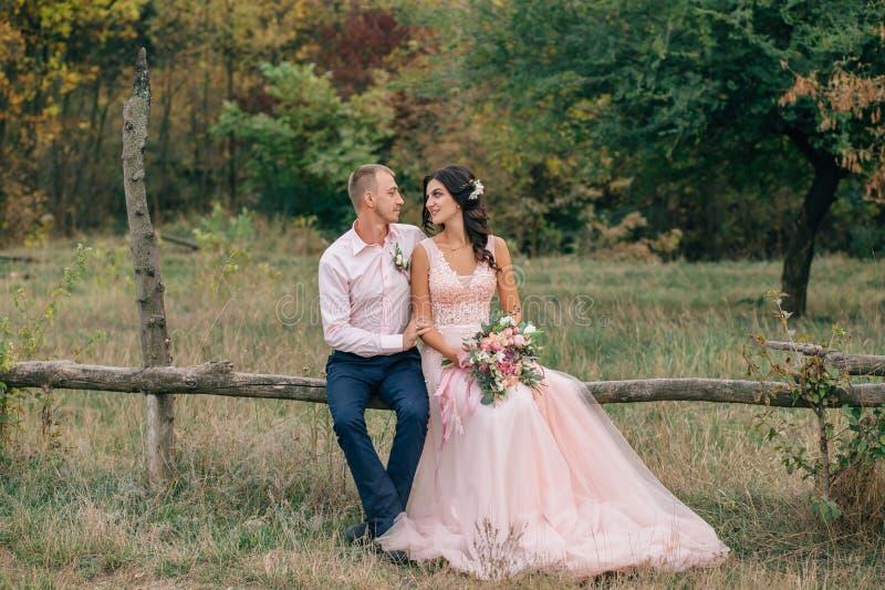 De bruid en de bruidegom zitten op een houten omheining dichtbij de boerderij Het huwelijk in de herfst wordt gestileerd in roze  royalty-vrije stock afbeelding