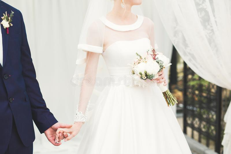 De bruid en de bruidegomholdingshanden van het huwelijkspaar stock afbeelding