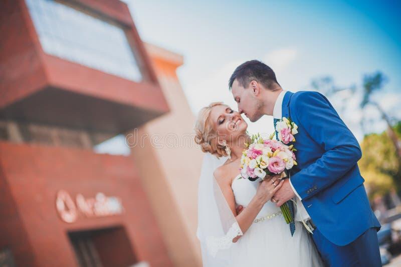 De bruid en de bruidegom in de stadsarchitectuur royalty-vrije stock fotografie