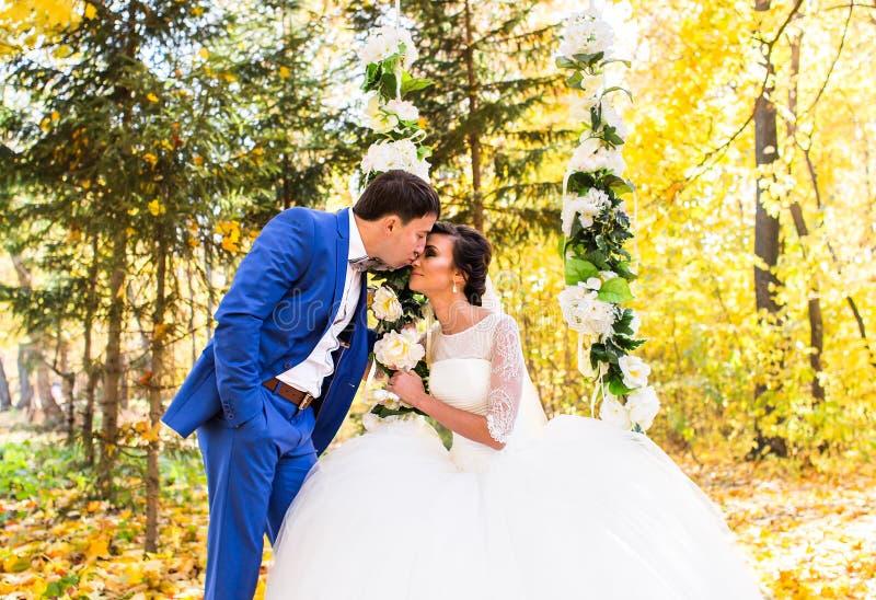 De bruid en de bruidegom op een schommeling in de herfstpark royalty-vrije stock fotografie