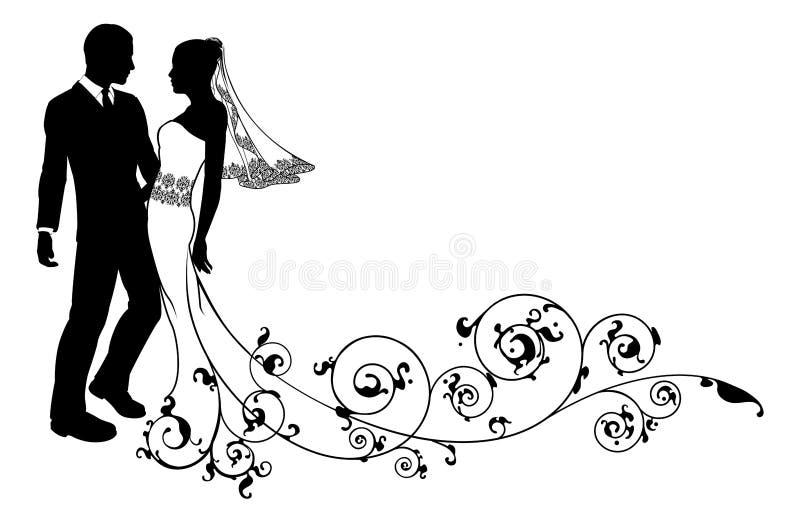 De bruid en de bruidegomsilhouet van het huwelijkspaar vector illustratie