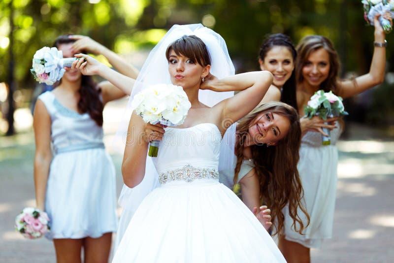 De bruid en de meisjes hebben pret terwijl het lopen in het park royalty-vrije stock foto