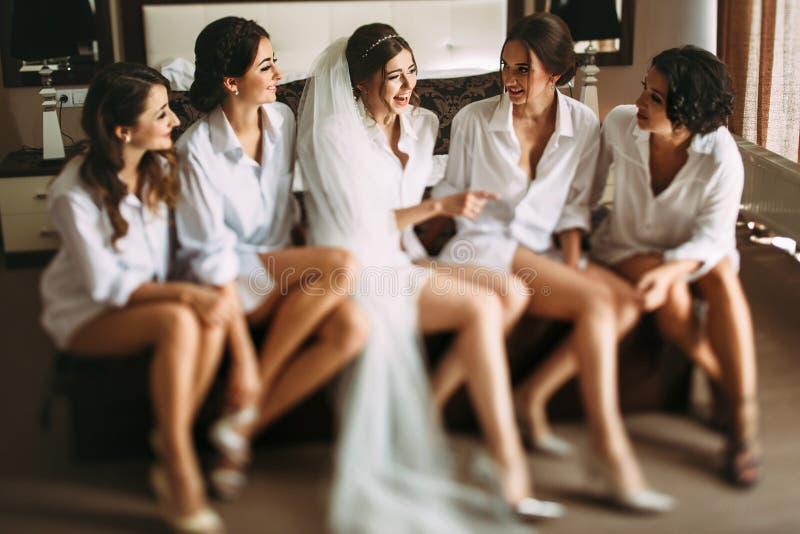 De bruid en haar vrienden hebben een aardig gesprek stock afbeelding