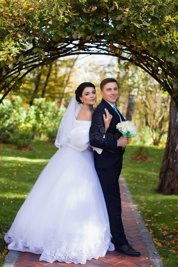 De bruid heeft teder de bruidegom omhelst royalty-vrije stock foto