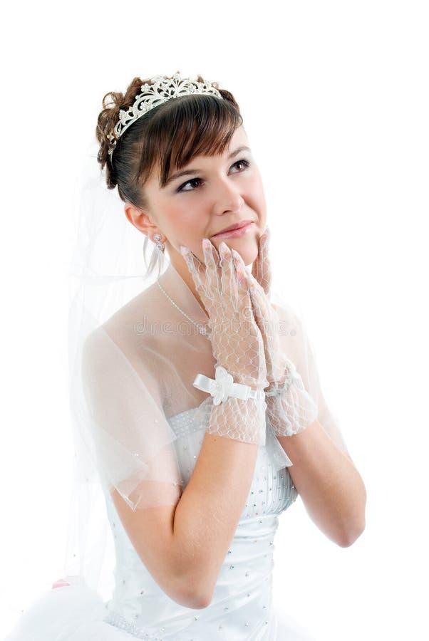 De bruid kleedde zich in de kleding van het elegantiehuwelijk stock afbeelding