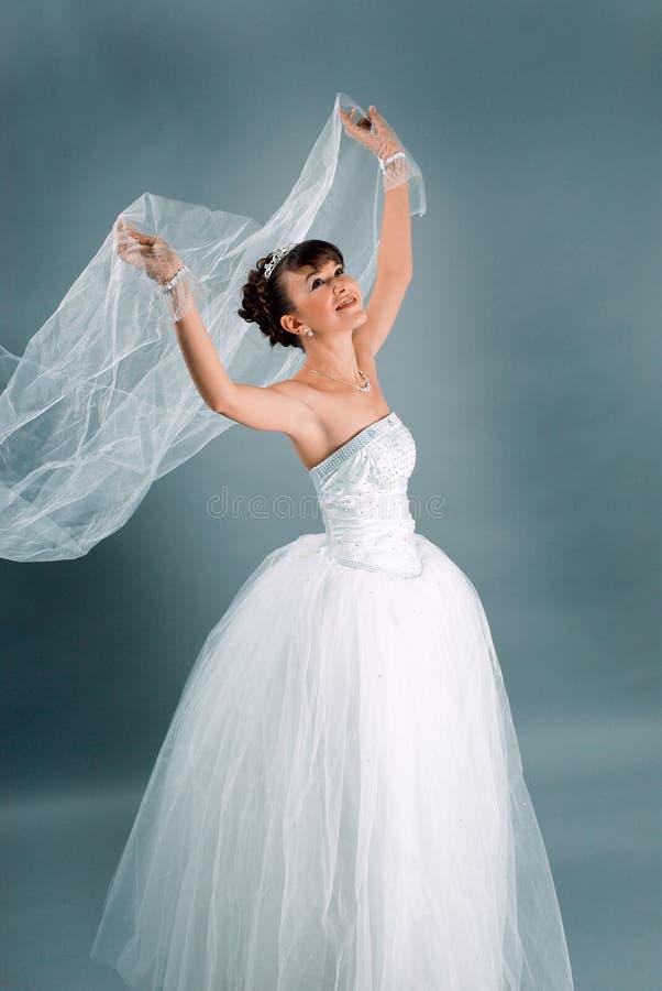 De bruid kleedde zich in kleding van het elegantie de witte huwelijk royalty-vrije stock foto