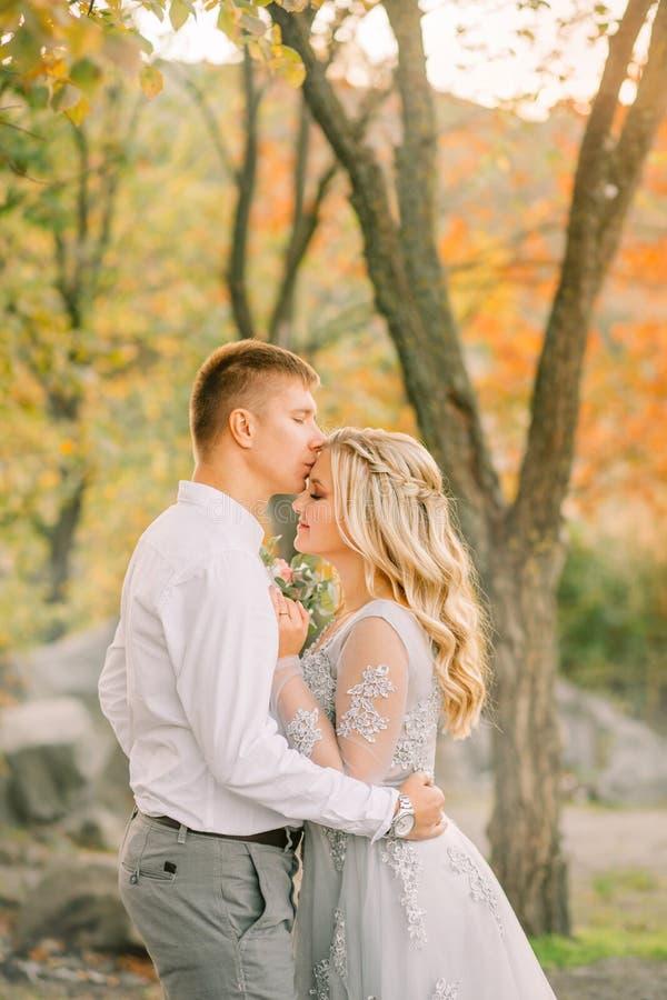 De bruid met blonde markt in een zacht kapsel kust haar fiance bij een huwelijksdag, gekleed in grijze kleding met transparant royalty-vrije stock afbeelding