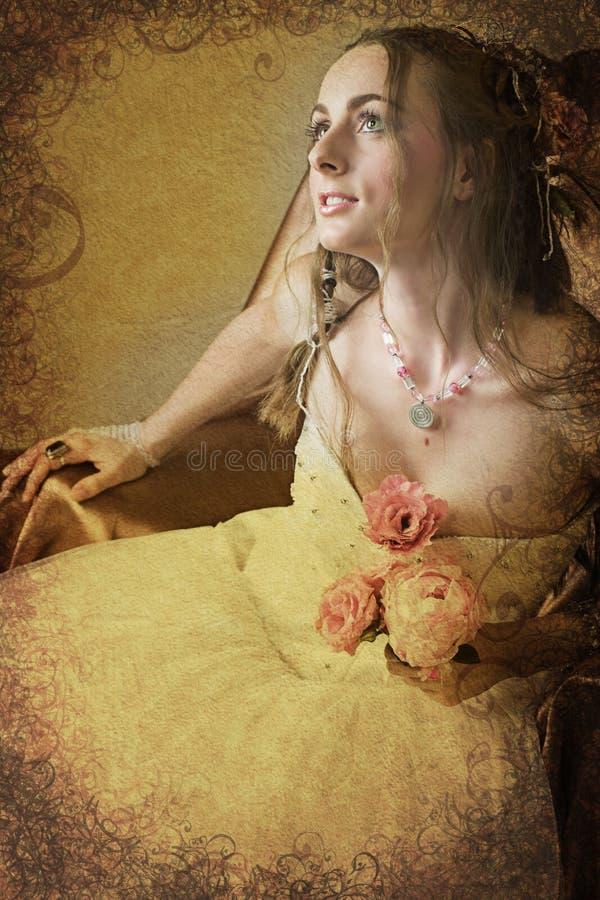 De bruid van Grunge met lang haar royalty-vrije stock fotografie
