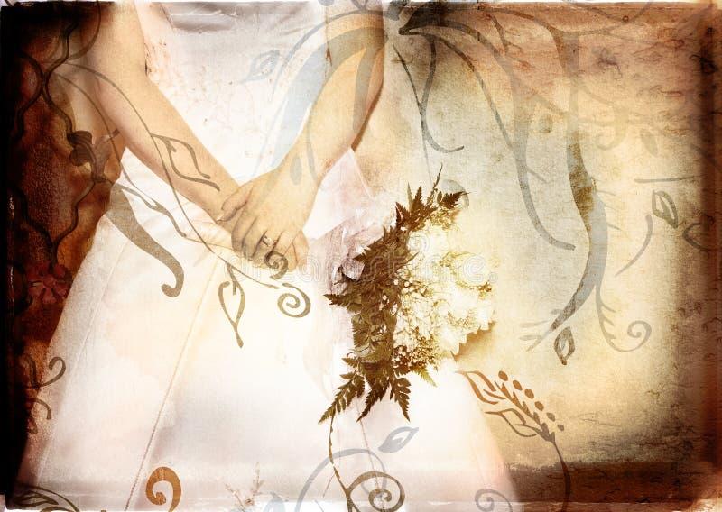 De bruid van Grunge met rozen royalty-vrije illustratie