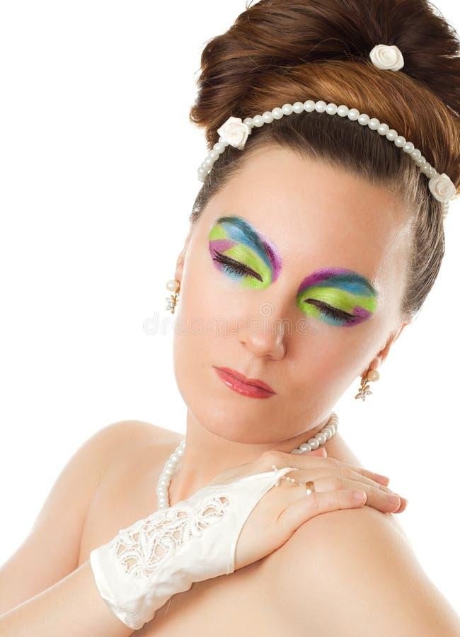 De bruid van het huwelijk concept.woman met creatieve samenstelling stock afbeeldingen