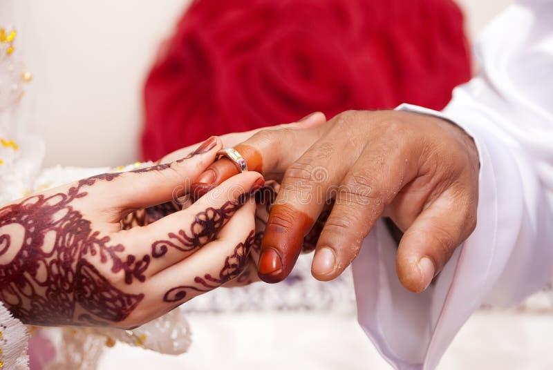 De bruid zet trouwring op de vinger van de bruidegom stock afbeelding