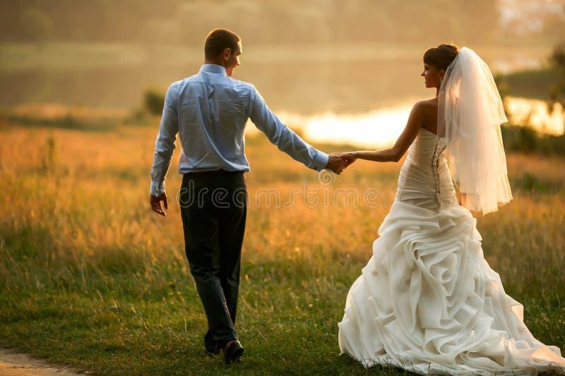 De bruidegom en de bruid houden handen op het groene bos als achtergrond royalty-vrije stock foto