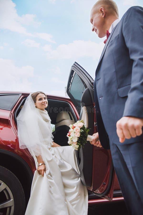 De bruidegom geeft hand aan de bruid stock fotografie