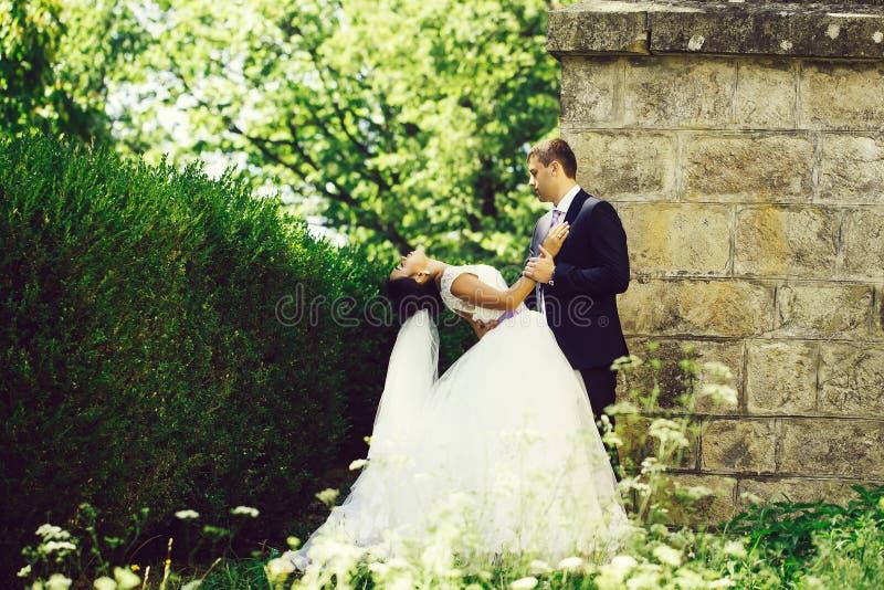 De bruidegom houdt bruid stock afbeeldingen