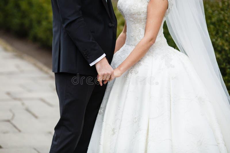 De bruidegom houdt met de hand de bruid stock afbeelding