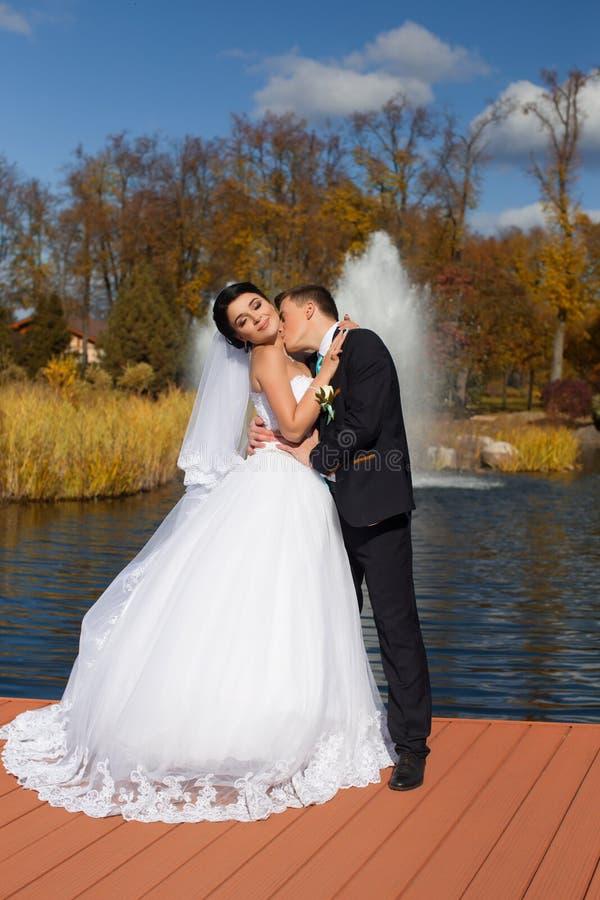 De bruidegom kust teder de bruid in de hals die zich op de pijler bevinden stock fotografie