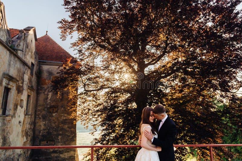 De bruidegom raakt bride& x27; s schouder teder royalty-vrije stock foto's