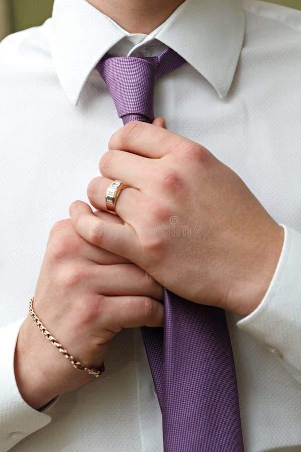 De bruidegom van de vakantiekledij bij huwelijk stock fotografie