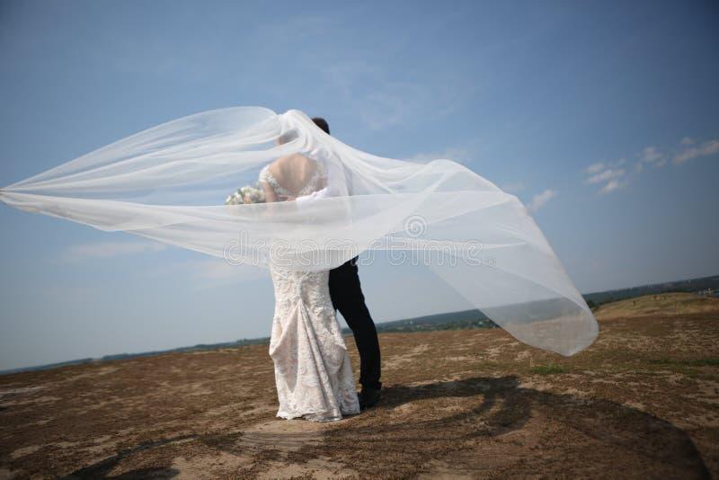 De bruidegom van de huwelijksbruid op hoogste windsluier stock foto's