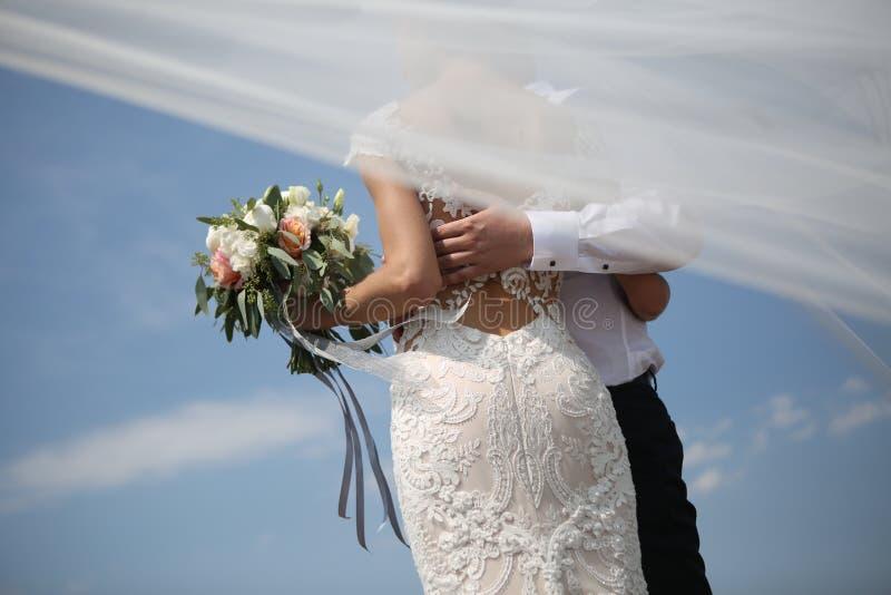 De bruidegom van de huwelijksbruid op hoogste windsluier royalty-vrije stock foto's