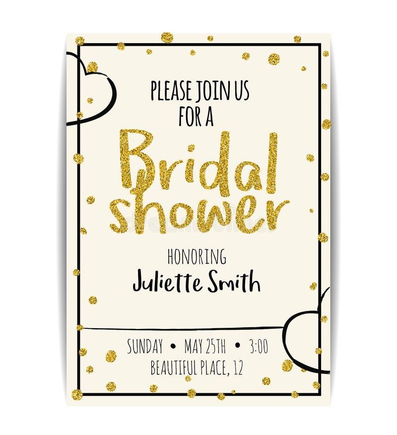 De bruids doucheuitnodiging met goud schittert tekst en punten stock illustratie
