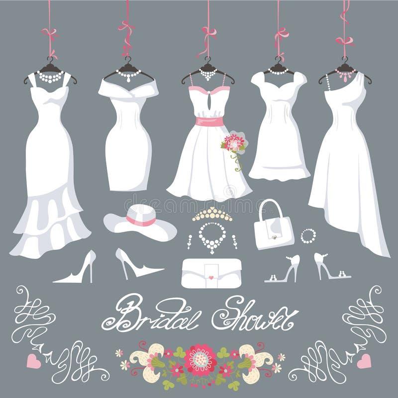 De bruids kleding hangt op linten De toebehoren van de manier stock illustratie
