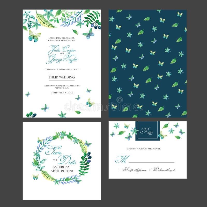 De bruids Uitnodiging van de Douchekaart met waterverfbloemen stock illustratie