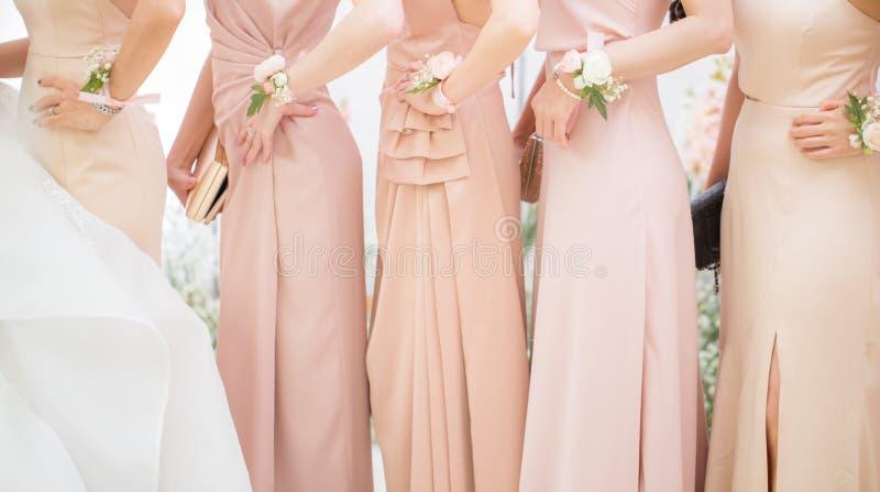 De bruidsmeisjes posten voor een fotospruit stock afbeelding