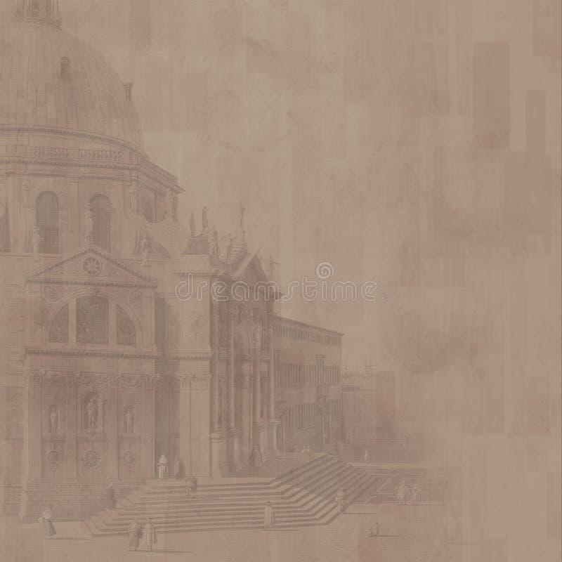 (De bruine) achtergrond van de kathedraal stock illustratie