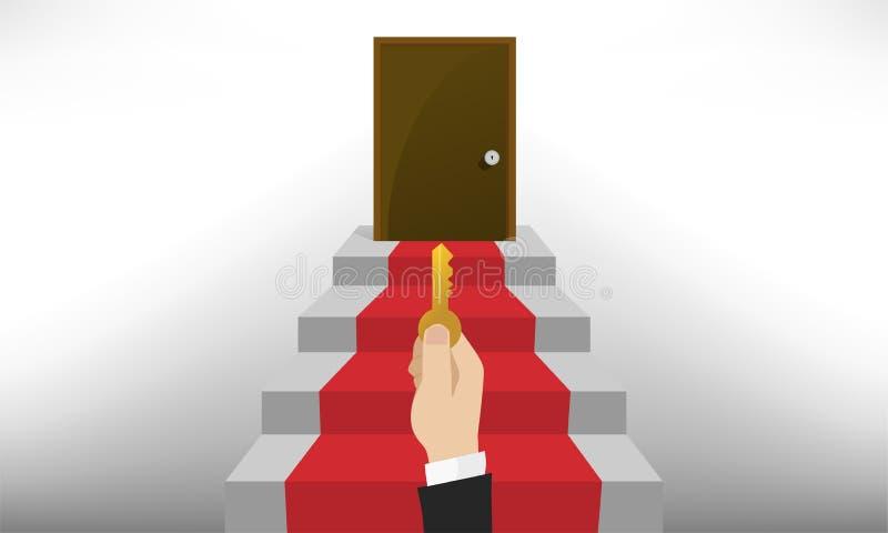 De bruine bovenaan de grijze trap met rood tapijt vector illustratie