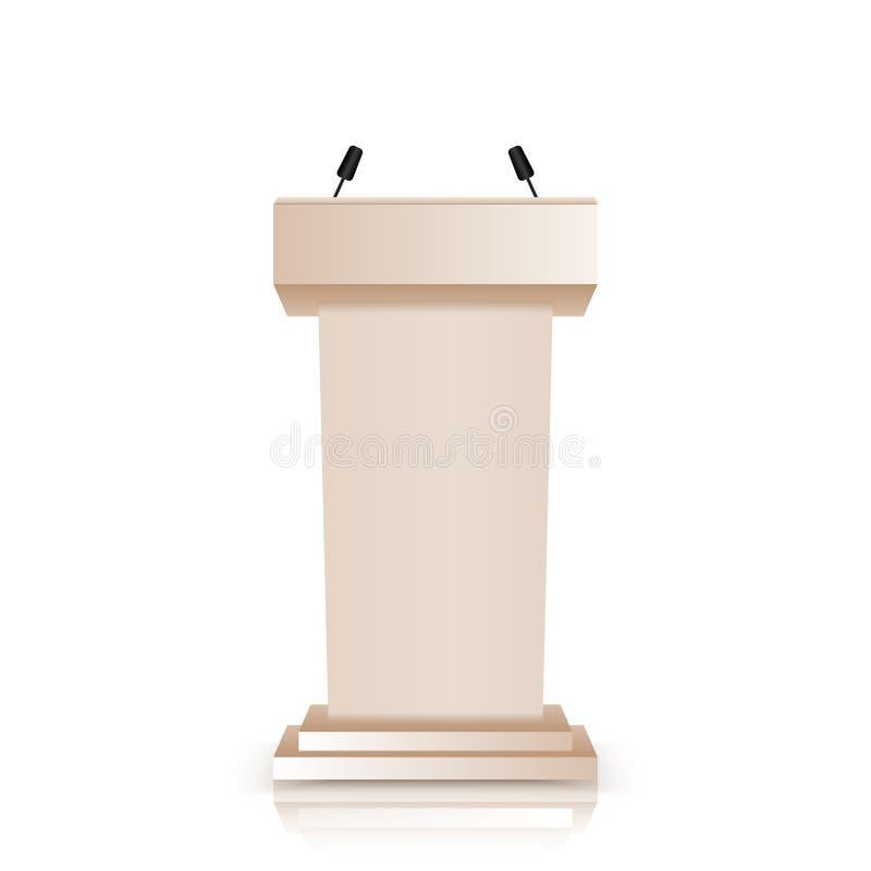 De bruine die stadiumtribune of rostra van het debatpodium met microfoons op witte achtergrond worden geïsoleerd 3d realistische  vector illustratie