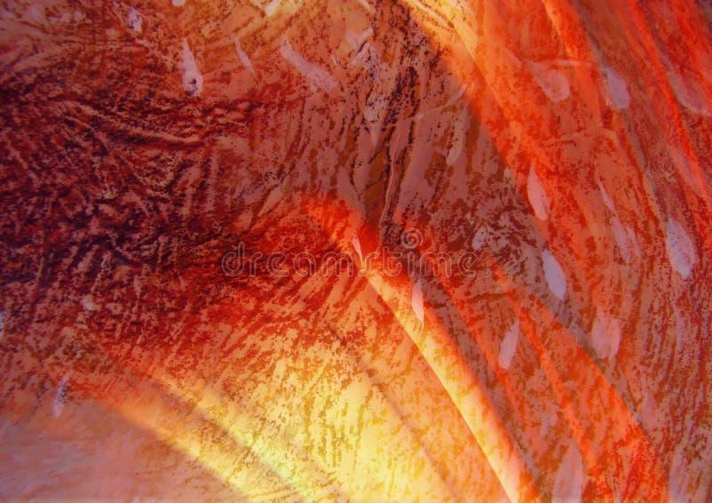 De bruine en rode textuur, vat aardachtig patroon, gele lichte stroken samen vector illustratie