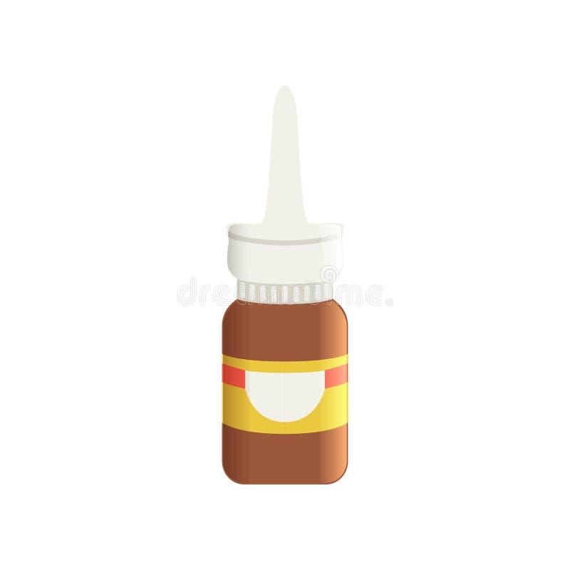 De bruine fles van de glas medische neus antiseptische nevel, farmaceutische geneesmiddel vectorillustratie op een witte achtergr royalty-vrije illustratie