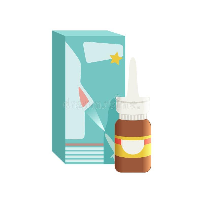 De bruine fles van de glas medische neus antiseptische nevel met doos, farmaceutische geneesmiddel vectorillustratie op een wit royalty-vrije illustratie