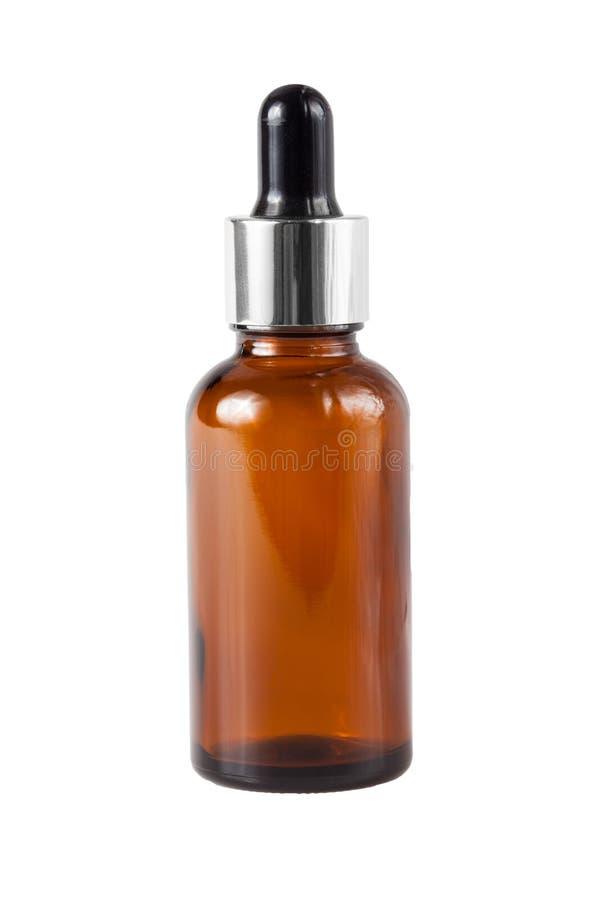 De bruine fles van het geneeskundeglas stock foto's