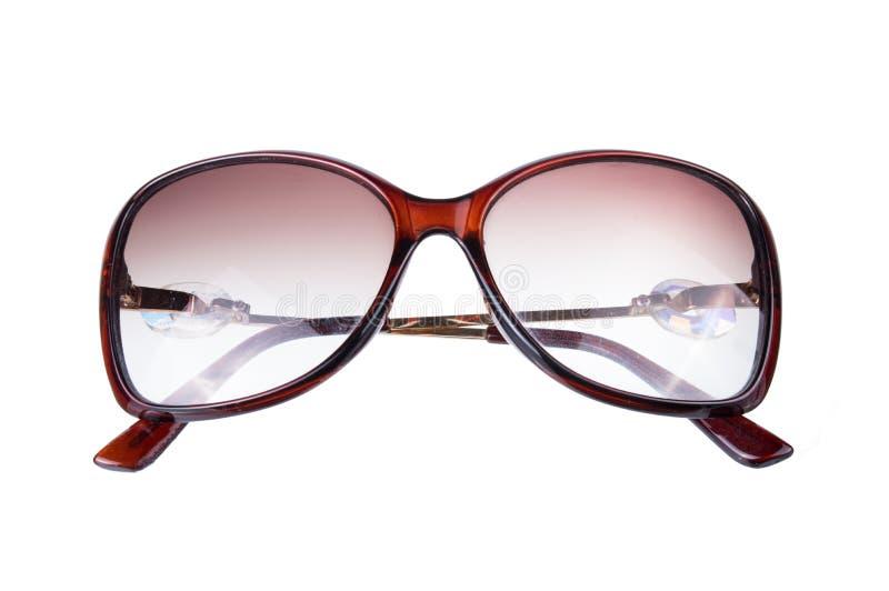 De bruine glazen van de oogzon in bruin die kader op witte achtergrond wordt geïsoleerd stock foto