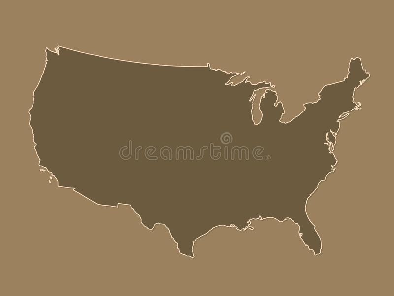 De bruine of gouden kaart van de Verenigde Staten van Amerika met grenzen zonder verschillende staten op donkere achtergrond stock illustratie