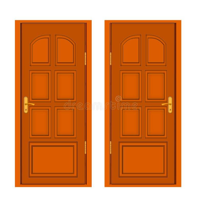 De bruine houten deur isoleerde vlak pictogram op achtergrond stock illustratie