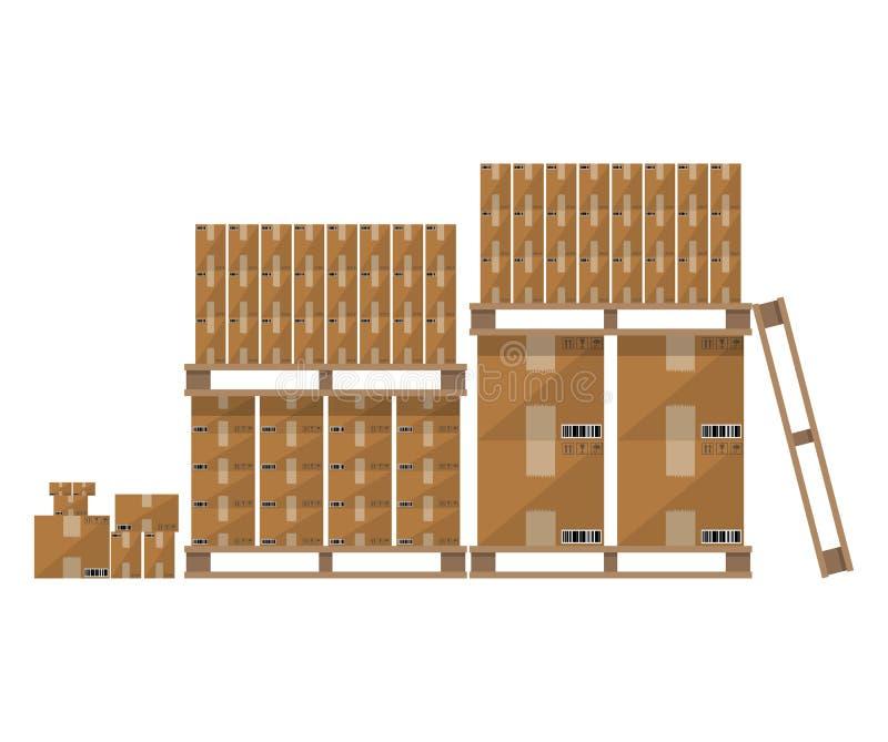 De bruine houten pallet van de kartondoos royalty-vrije illustratie